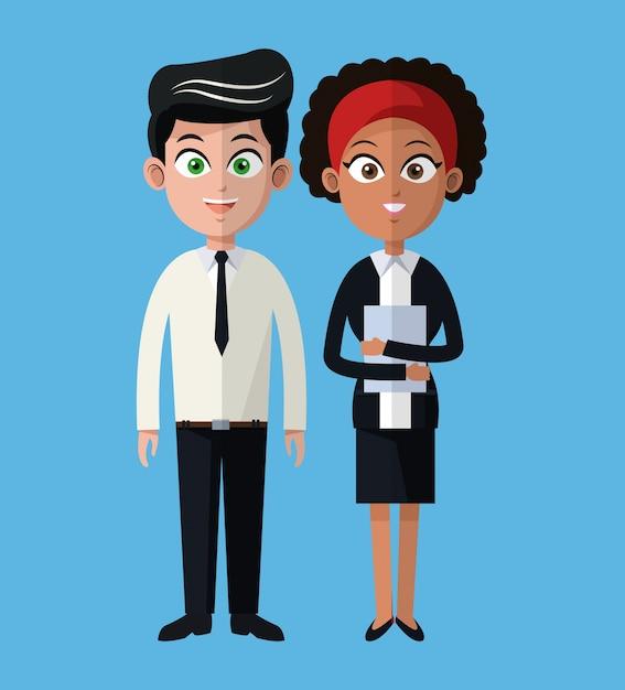 Dibujos Animados Hombre Y Mujer Trabajando Equipo De
