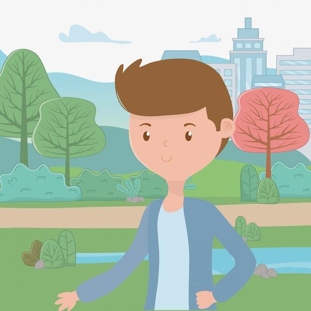 Dibujos animados de hombre en el parque vector gratuito