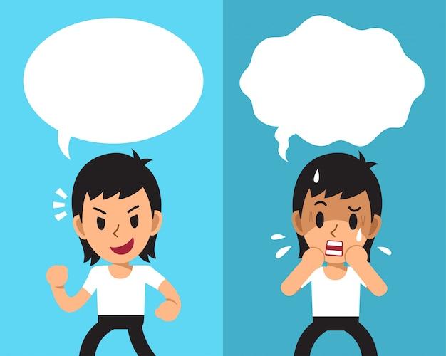 Dibujos animados de un hombre que expresa diferentes emociones con burbujas de discurso blanco Vector Premium