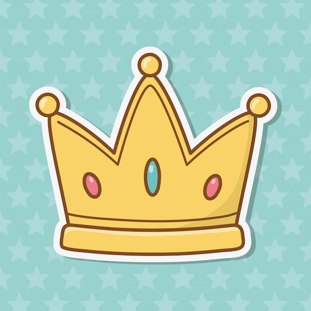 Dibujos animados icono de corona Vector Premium