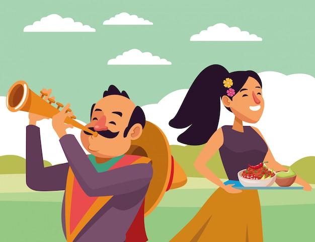 Dibujos animados de icono de cultura tradicional mexicana vector gratuito