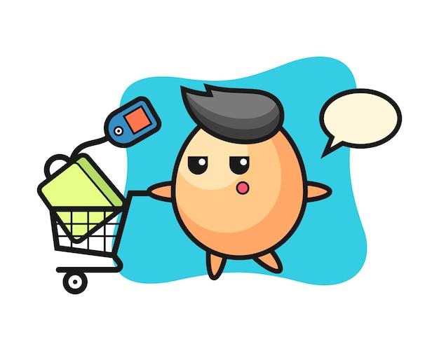 Dibujos animados de ilustración de huevo con un carrito de compras, estilo lindo para camiseta, pegatina, elemento de logotipo Vector Premium