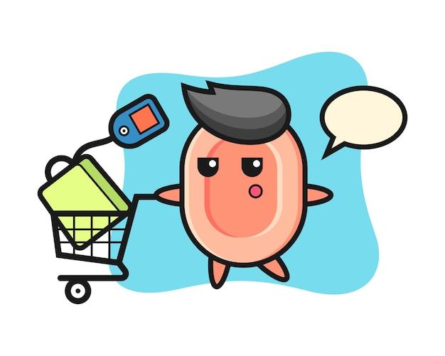 Dibujos animados de ilustración de jabón con un carrito de compras, estilo lindo para camiseta, pegatina, elemento de logotipo Vector Premium