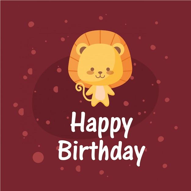 Dibujos animados de león y feliz cumpleaños Vector Premium