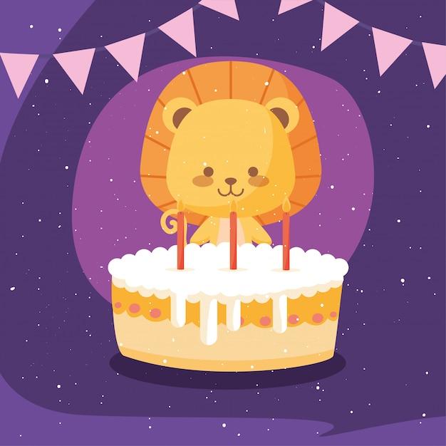 Dibujos animados de león con pastel de feliz cumpleaños Vector Premium
