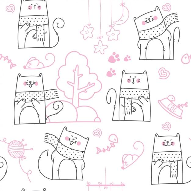 Dibujos animados lindo bebé gato de patrones sin fisuras | Descargar ...
