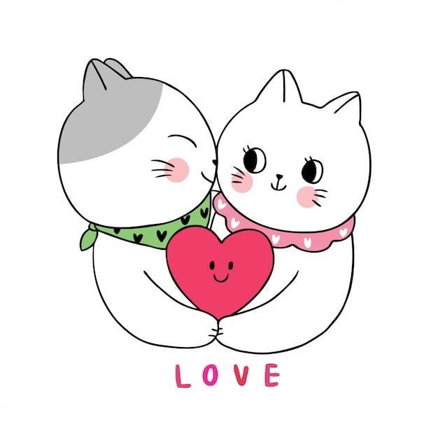 Dibujos animados lindo día de san valentín gatos blancos amante besos. Vector Premium