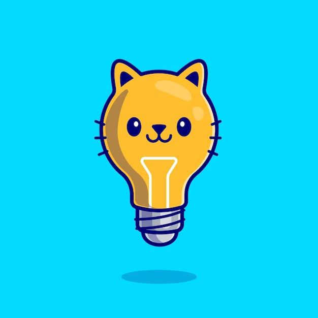 Dibujos animados lindo gato bombilla vector gratuito
