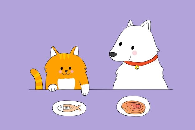 f3d386816efcd Dibujos animados lindo gato y perro comiendo vector.