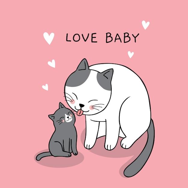 Dibujos Animados Lindo Mamá Y Bebé Gato Vector Descargar Vectores