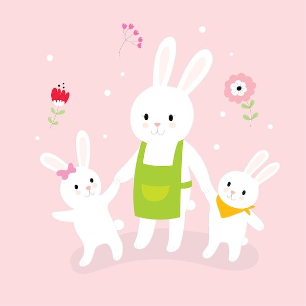 Dibujos Animados Lindo Mamá Conejo Y Pequeños Conejos Caminando