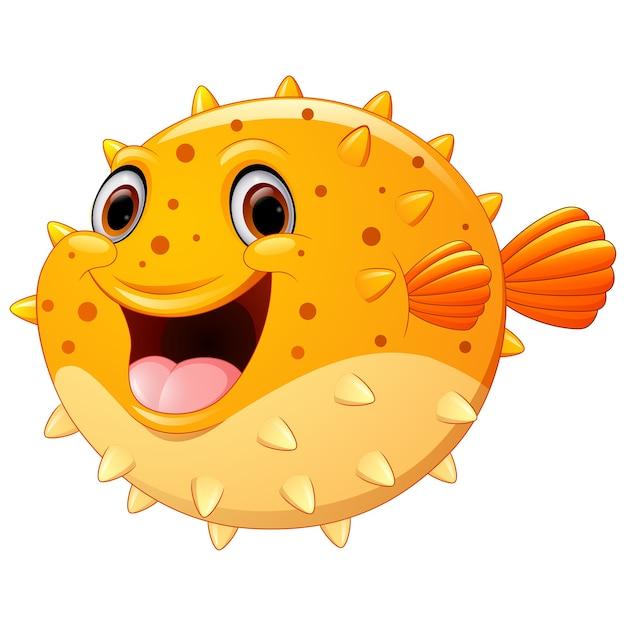 dibujos animados lindo pez globo descargar vectores premium