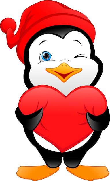 Dibujos animados lindo pingüino con cartel de amor