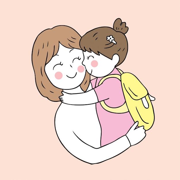 Dibujos animados lindo regreso a la escuela madre e hija besándose. Vector Premium