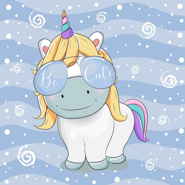 832f50fbda Dibujos animados lindo unicornio con gafas de sol sobre fondo de rayas  Vector Premium