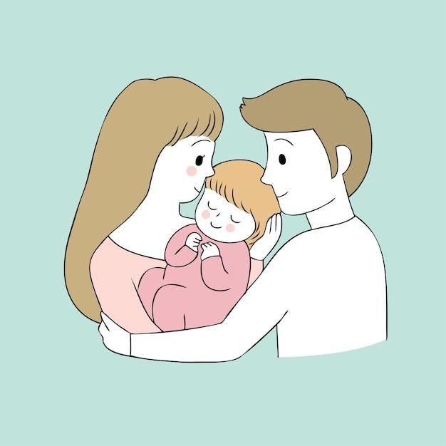 Dibujos animados lindos padres y bebé vector. Vector Premium