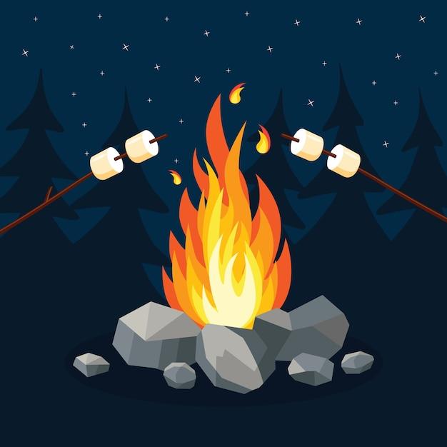Dibujos animados de llamas de fuego, hoguera, fogata en el fondo. Vector Premium