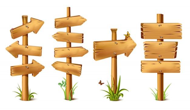 Dibujos animados de madera rústica canta en flecha de dirección. banner antiguo y retro con clavos metálicos para mensajes o punteros para encontrar caminos con mariposas y hierba alrededor y sombras realistas. Vector Premium