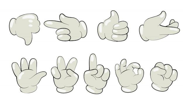Dibujos animados manos en conjunto de guantes vector gratuito