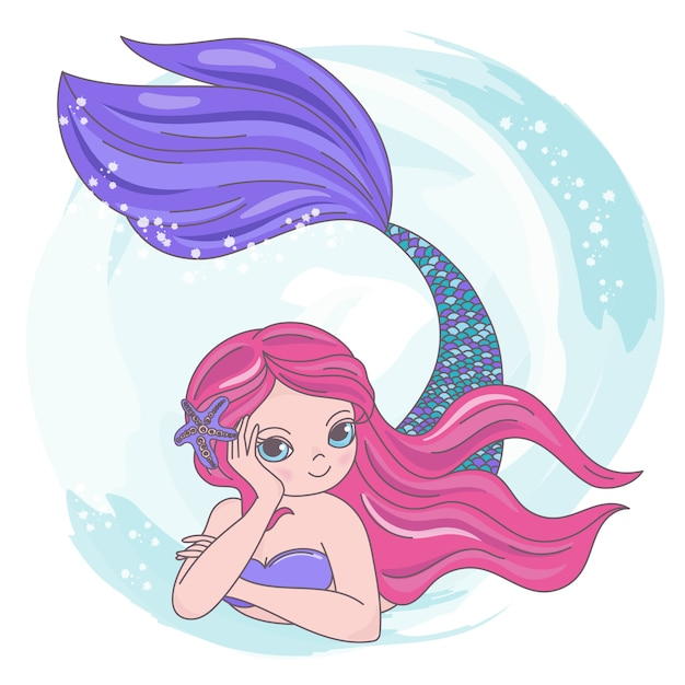 Dibujos animados mermaid rojo viaje tropical Vector Premium