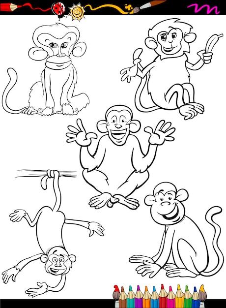 Dibujos animados monos para colorear libro | Descargar Vectores Premium