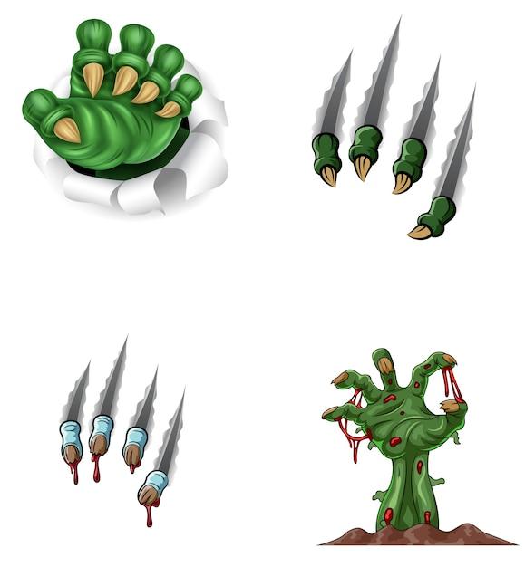 Dibujos animados monstruo garra rasgando a través de Vector Premium