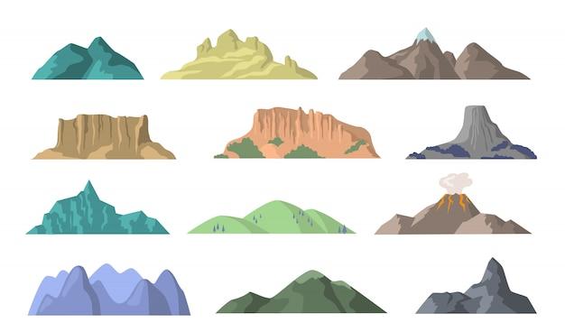 Dibujos animados montañas elementos planos vector gratuito