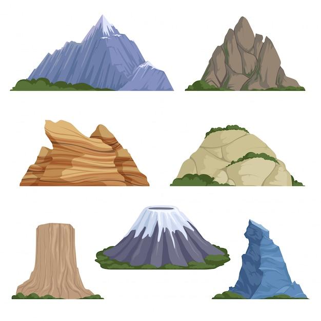 Dibujos animados de montañas. snow rockies verano terreno al aire libre paisaje de roca Vector Premium