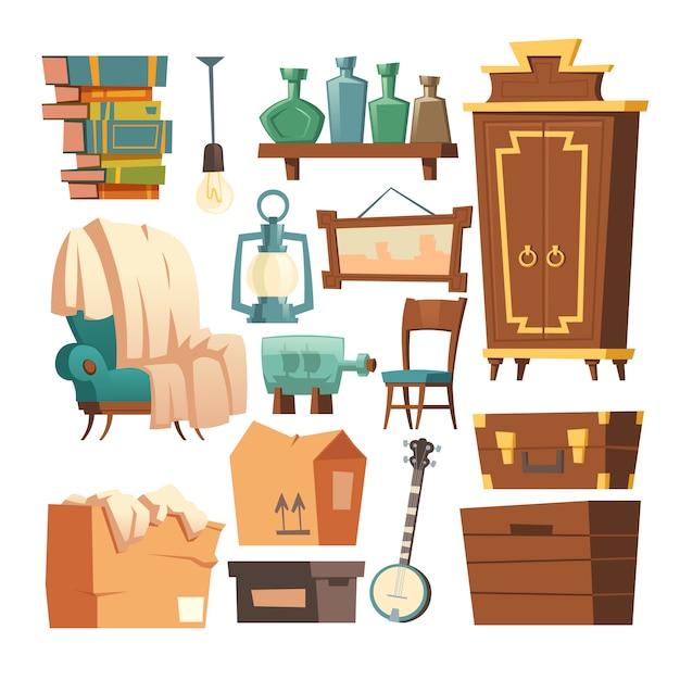 Dibujos animados de muebles retro antiguo, interior de la sala de estar vector gratuito