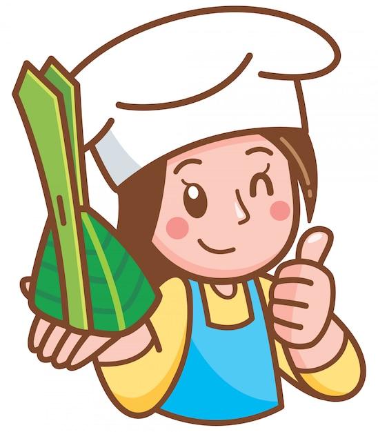 Dibujos animados mujer chef presentando postre Vector Premium