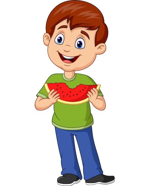 Dibujos Animados Niño Comiendo Rebanada De Sandía Descargar