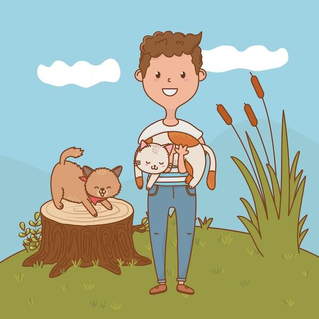 Dibujos animados de niño feliz infantil Vector Premium