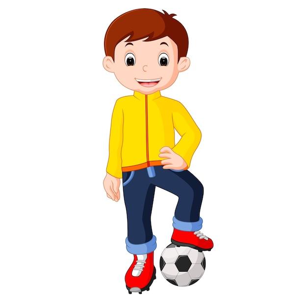 Dibujos Animados De Nino Jugando Futbol Descargar Vectores Premium