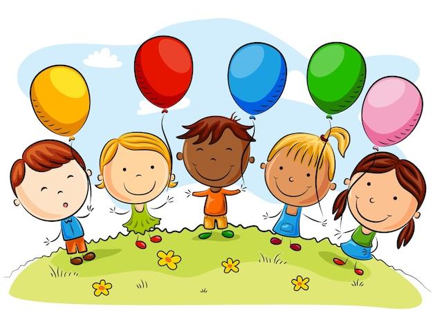 Dibujos Caras De Niños Felices Animadas: Dibujos Animados De Niños Felices Con Globos En Un Día