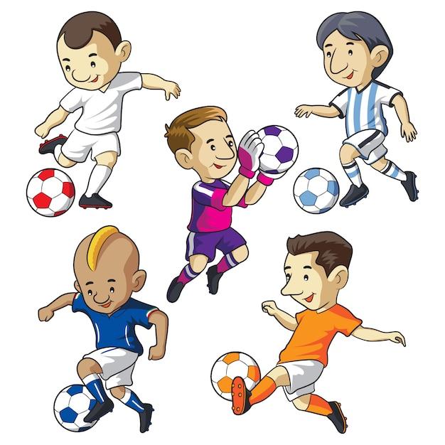Dibujos animados de niños de fútbol Vector Premium
