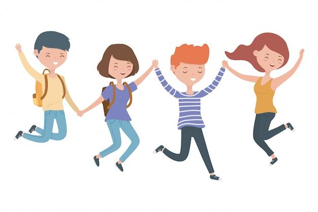 Dibujos animados de niños y niñas adolescentes vector gratuito