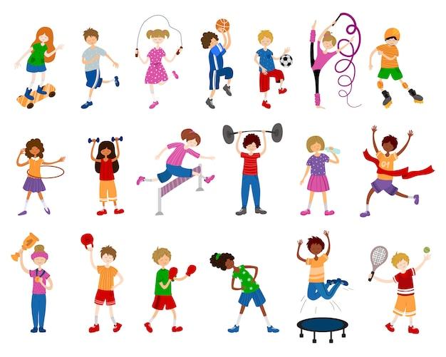 Dibujos animados de niños o niños, niñas y niños, practicar deportes. Vector Premium
