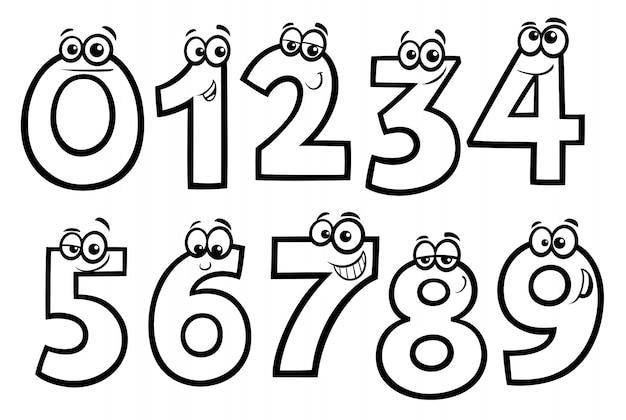 Dibujos Del Numero 7 Para Colorear: Dibujos Animados De Números Básicos Para Colorear Libro