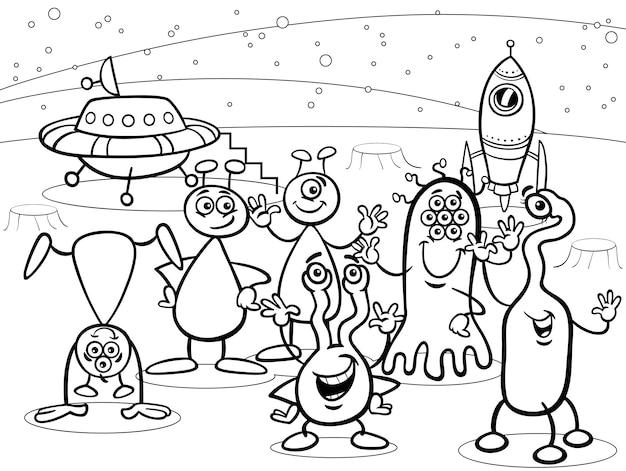 Dibujos animados ovni grupo de extranjeros para colorear | Descargar ...