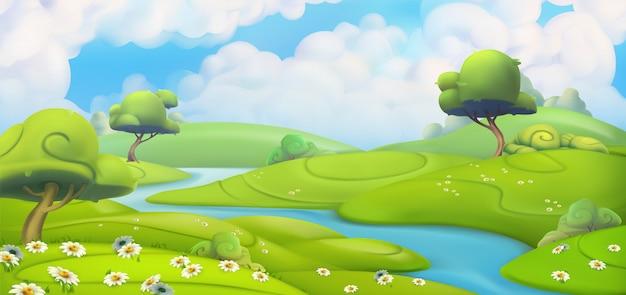Dibujos animados de paisaje de primavera 3d Vector Premium
