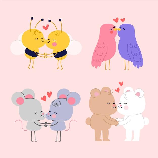 Dibujos animados pareja besándose y pasar tiempo juntos vector gratuito