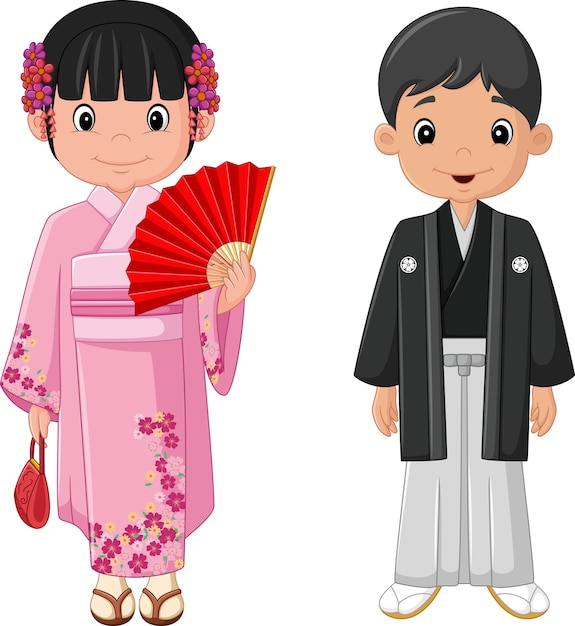 Dibujos animados pareja japonesa vistiendo traje tradicional Vector Premium