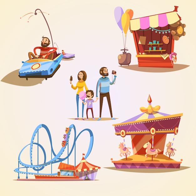 Dibujos animados de parque de atracciones con atracciones de estilo retro vector gratuito