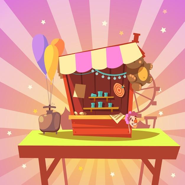 Dibujos animados de parque de atracciones con galería de tiro con premios en estilo retro de fondo abstracto vector gratuito