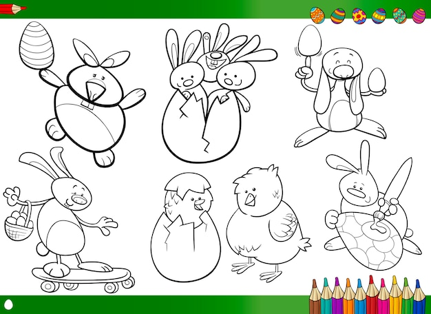 Dibujos animados de pascua para colorear libro | Descargar Vectores ...