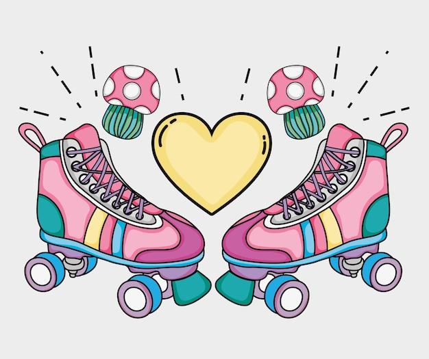 Dibujos animados de patines del arte pop Vector Premium