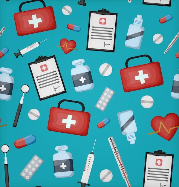 Dibujos animados de patrones sin fisuras con equipos médicos para papel de regalo, cobertura y marca en el fondo azul. concepto de salud y medicina. Vector Premium