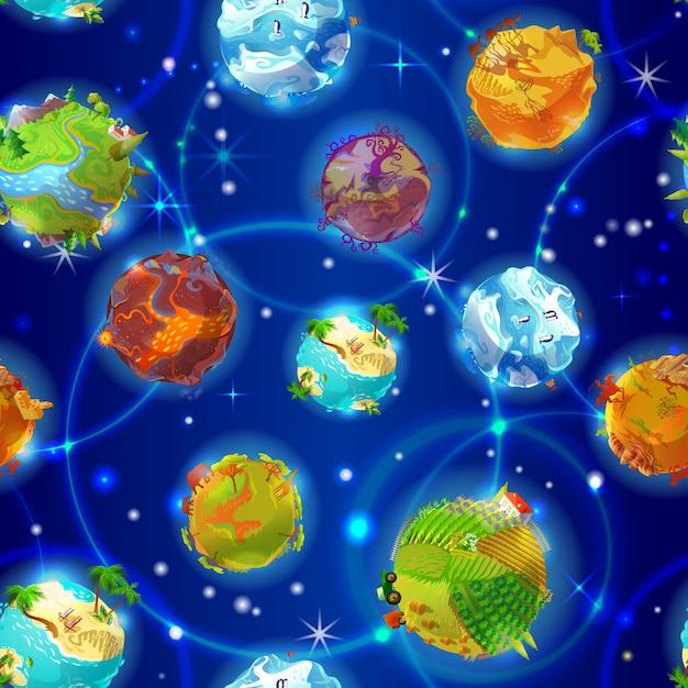 Dibujos animados de patrones sin fisuras de los planetas de la tierra vector gratuito