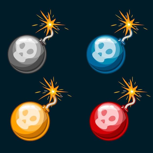 Dibujos animados peligrosas bombas multicolores Vector Premium