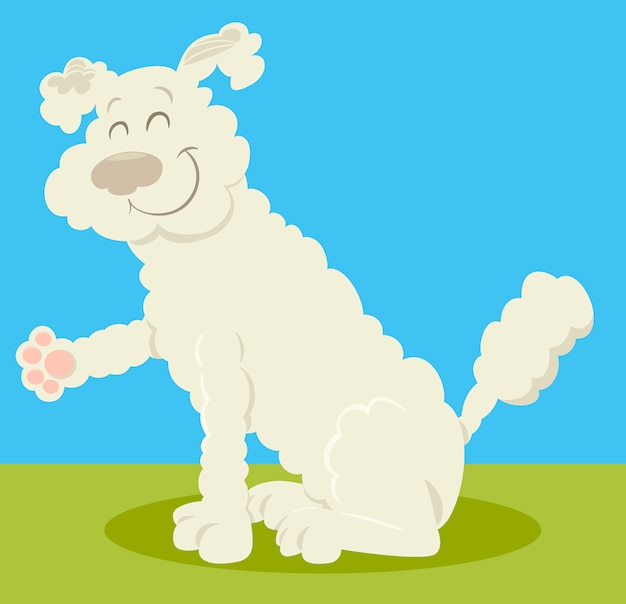 Dibujos Animados De Perro Caniche Blanco Descargar Vectores Premium